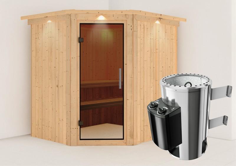 Karibu Heimsauna Lilja (Eckeinstieg) Ofen 3,6 kW intgr. Strg   mit Dachkranz Plug & Play 230Volt Sauna