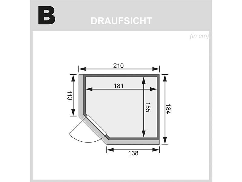 Karibu 68mm Systemsauna Lilja - Plug&Play - Eckeinstieg - Ganzglastür graphit - mit Dachkranz - 3,6kW Plug&Play Bio-Kombiofen mit externer Steuerung Easy Bio