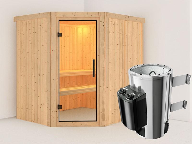Karibu 68mm Systemsauna Lilja - Plug&Play - Eckeinstieg - Ganzglastür klar - ohne Dachkranz - 3,6kW Plug&Play Saunaofen mit integr. Steuerung