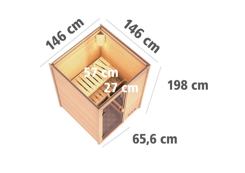 Karibu Heimsauna Nadja (Fronteinstieg) Ofen 3,6 kW Bio-Ofen externe Strg. modern Kein Kranz Plug & Play 230Volt Sauna