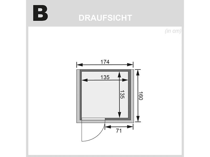Karibu 38mm Massivholzsauna Nadja - Plug&Play - Fronteinstieg - Energiespartür - mit Dachkranz - 3,6kW Plug&Play Saunaofen mit integr. Steuerung