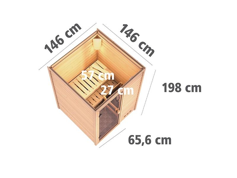 Karibu 38mm Massivholzsauna Nadja - Plug&Play - Fronteinstieg - Ganzglastür klar - ohne Dachkranz - 3,6kW Plug&Play Saunaofen mit integr. Steuerung