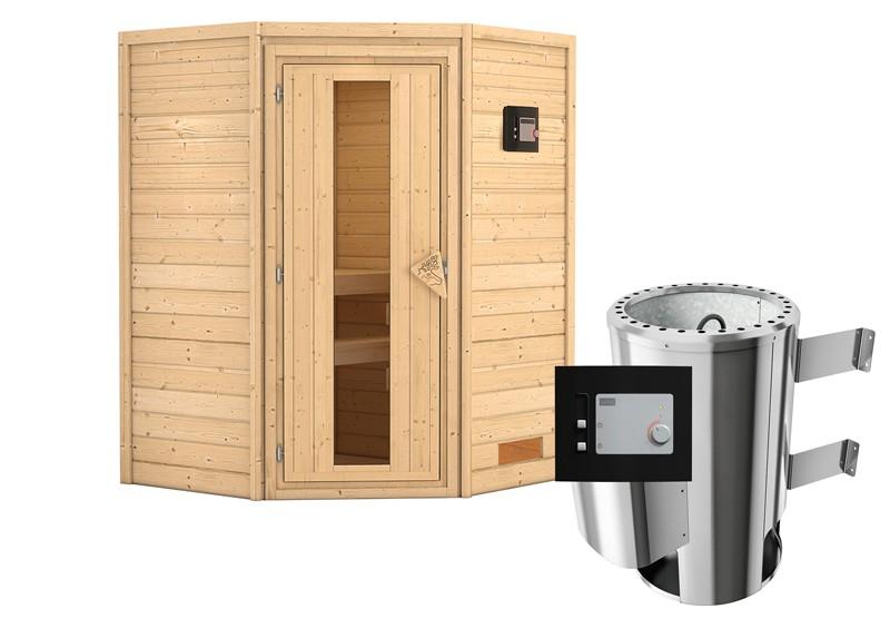 Karibu Heimsauna Alicja (Eckeinstieg) Ofen 3,6 kW externe Strg.modern Kein Kranz Plug & Play 230Volt Sauna