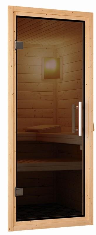 Karibu Plug&Play Sauna Ronja (Eckeinstieg) mit Dachkranz und Graphit Sauna Tür