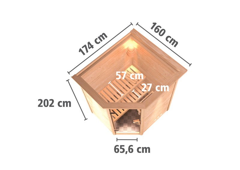 Karibu Heimsauna Alicja (Eckeinstieg) Ofen 3,6 kW externe Strg.modern mit Dachkranz Plug & Play 230Volt Sauna