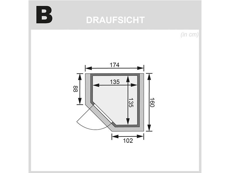 Karibu 38mm Massivholzsauna Alicja - Plug&Play - Eckeinstieg - Ganzglastür graphit - mit Dachkranz - 3,6kW Plug&Play Saunaofen mit externer Steuerung Easy