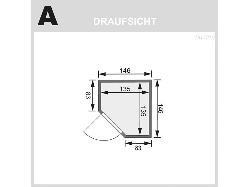 Karibu 38mm Massivholzsauna Alicja - Plug&Play - Eckeinstieg - Ganzglastür klar - ohne Dachkranz - 3,6kW Plug&Play Saunaofen mit externer Steuerung Easy