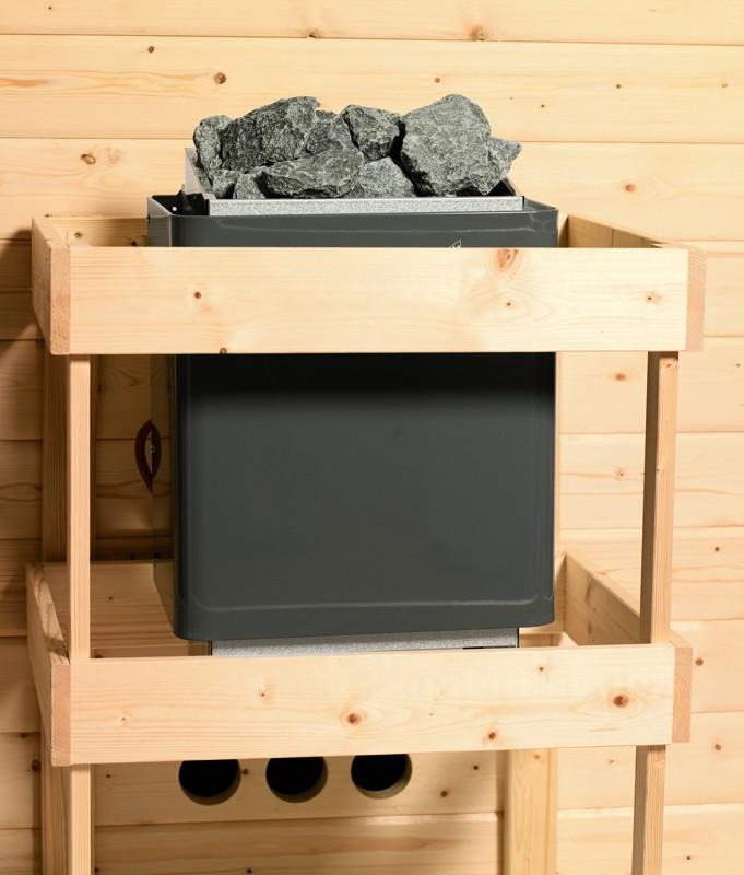 Karibu Plug&Play Sauna Ronja (Fronteinstieg) mit Dachkranz und Graphit Sauna Tür