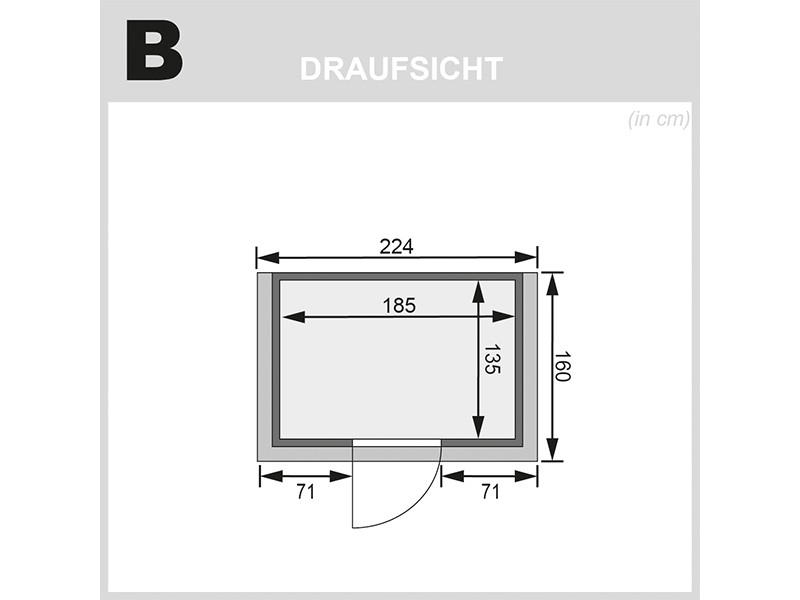 Karibu 38mm Massivholzsauna Ronja - Plug&Play - Fronteinstieg - Ganzglastür graphit - mit Dachkranz - 3,6kW Plug&Play Saunaofen mit externer Steuerung Easy