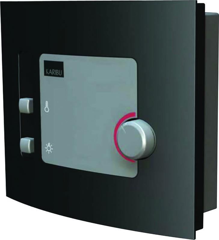 Karibu Heimsauna Ronja (Fronteinstieg) Ofen 3,6 kW externe Strg.modern mit Dachkranz Plug & Play 230Volt Sauna