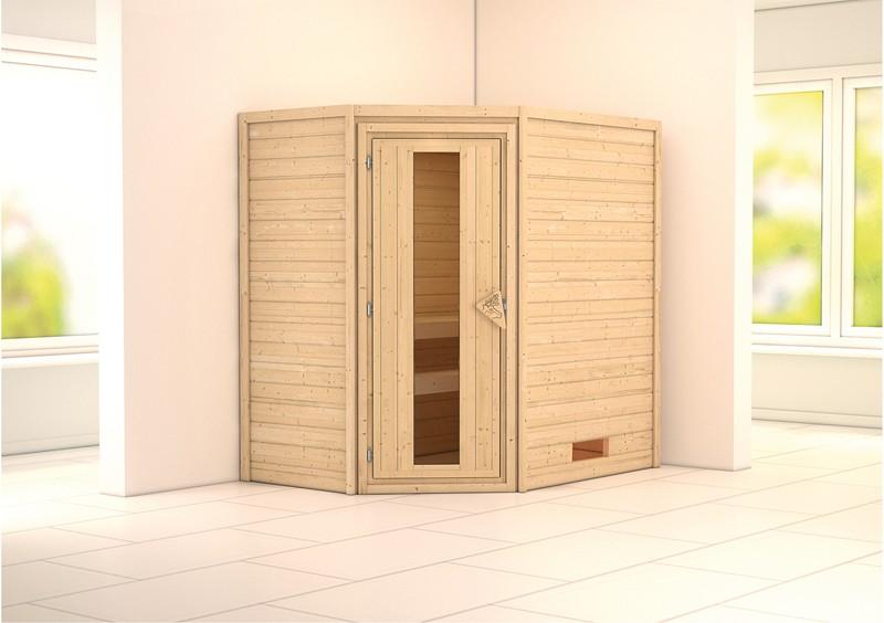 Karibu Plug&Play Sauna Cilja (Eckeinstieg) ohne Dachkranz und Energiesparende Sauna Tür