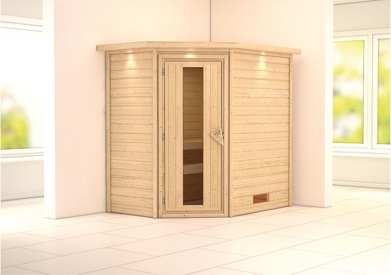 Karibu Plug&Play Sauna Cilja (Eckeinstieg) mit Dachkranz und Energiespar Sauna Tür
