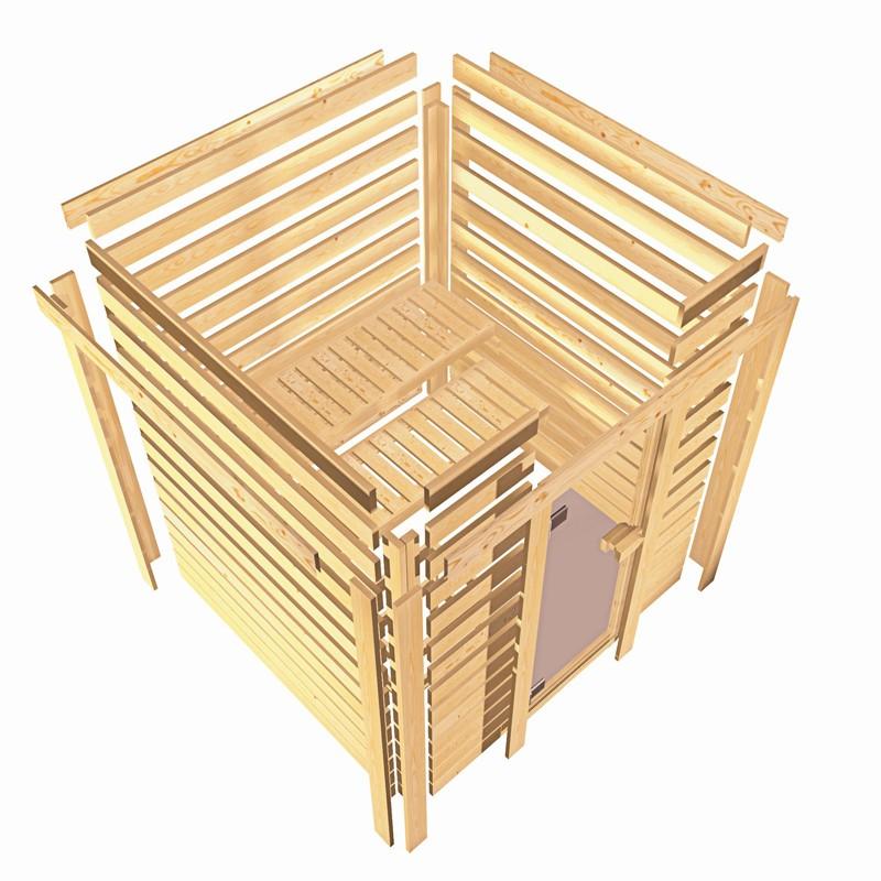 Karibu Plug&Play Sauna Cilja (Eckeinstieg) ohne Dachkranz und Graphit Sauna Tür