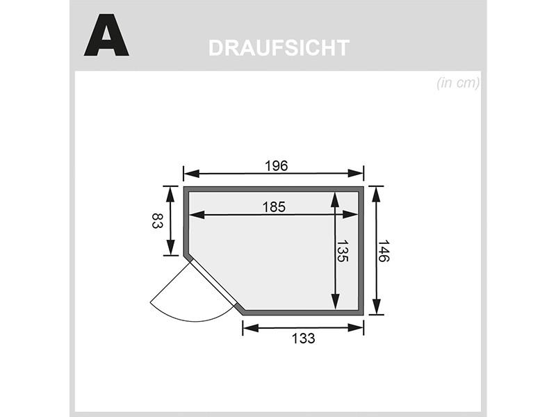 Karibu 38mm Massivholzsauna Cilja - Plug&Play - Eckeinstieg - Ganzglastür graphit - ohne Dachkranz