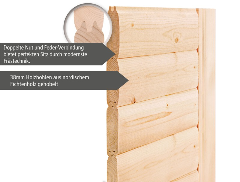 Karibu Plug&Play Sauna Cilja (Eckeinstieg) mit Dachkranz und Graphit Sauna Tür