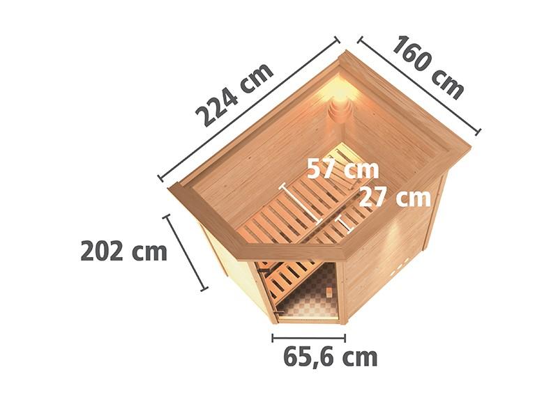Karibu 38mm Massivholzsauna Cilja - Plug&Play - Eckeinstieg - Ganzglastür klar - mit Dachkranz