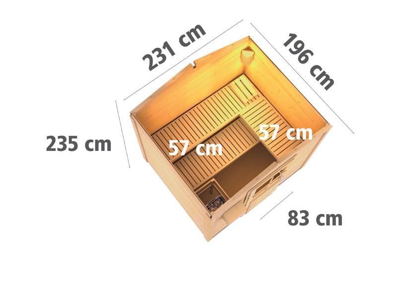 Karibu Aussensauna 38 mm Saunahaus Bosse 1 - ohne Vorraum - mit moderner Saunatür