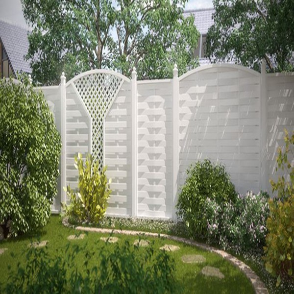 TraumGarten Sichtschutzzaun Kunststoff Longlife Romo Rundbogen mit V-Gitter weiß - 180 x 180 (196) cm