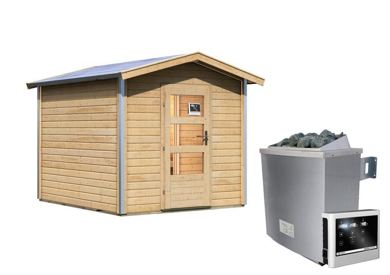 Karibu Systemsaunahaus 38 mm Saunahaus Bosse 1 mit Vorraum Ofen 9 KW externe Strg easy  Gartensauna