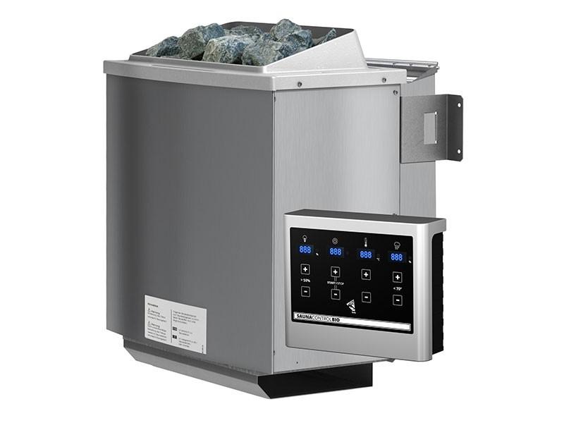 Karibu 38 mm Saunahaus Jorgen - Pultdach - Milchglas Saunatür - naturbelassen - 9kW Bio-Kombiofen mit externer Steuerung Easy bio