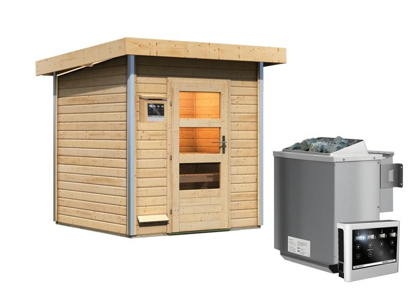 Karibu Systemsaunahaus 38 mm Saunahaus Torge Ofen 9 kW Bio externe Strg easy - naturbelassen