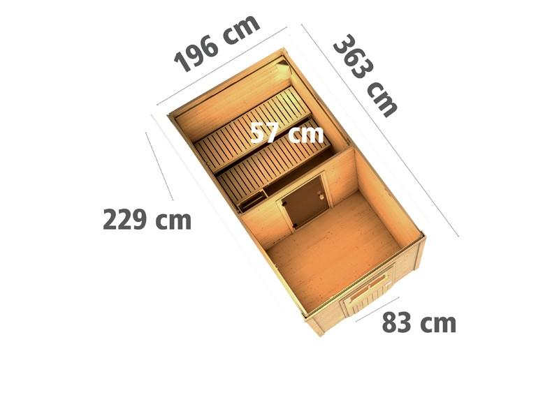 Karibu Systemsaunahaus 38 mm Saunahaus Torge mit Vorraum Ofen 9 KW externe Strg easy - naturbelassen