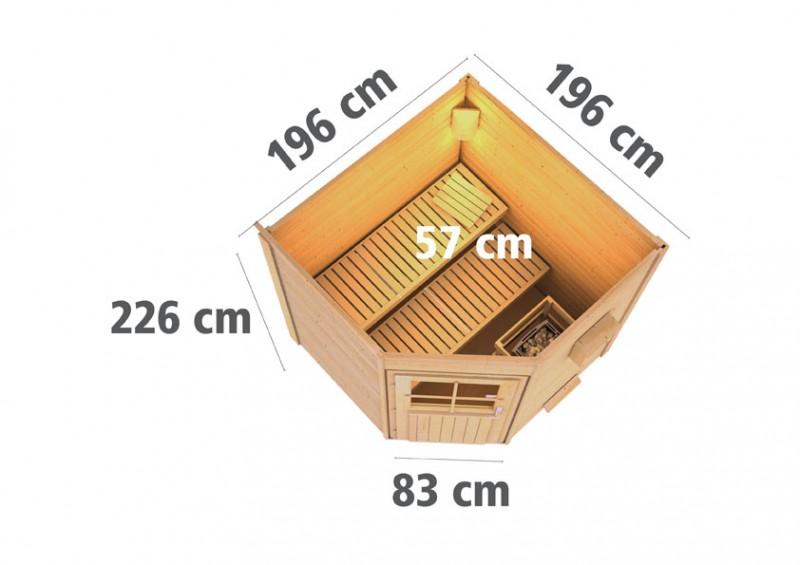 Karibu Systemsaunahaus 38 mm Saunahaus Pekka mit Eckeinstieg Ofen 9 kW integr. Strg - naturbelassen