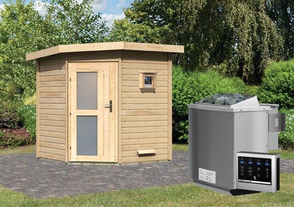 Karibu Systemsaunahaus 38 mm Saunahaus Pekka mit Eckeinstieg Ofen 9 kW Bio externe Strg easy - naturbelassen