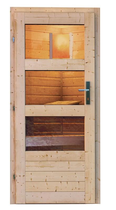 Karibu Systemsaunahaus 38 mm Saunahaus Pekka mit Eckeinstieg Ofen 9 KW externe Strg easy  - naturbelassen