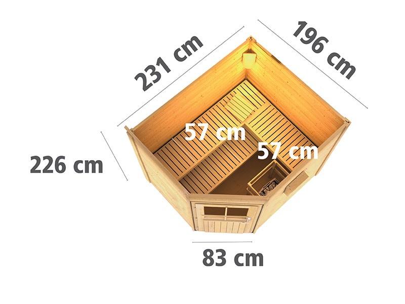 Karibu 38 mm Saunahaus Mikka - Pultdach - Milchglas Saunatür - naturbelassen