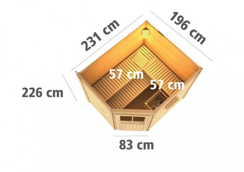 Karibu Systemsaunahaus 38 mm Saunahaus Mikka mit Eckeinstieg inkl. Ofen 9 kW integr. Strg  - naturbelassen