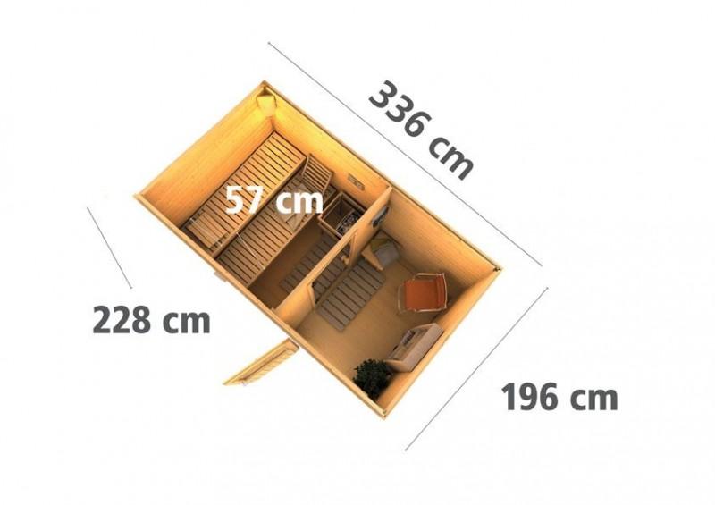 Karibu Systemsaunahaus 38 mm Saunahaus Skrollan 1 ohne Ofen - naturbelassen
