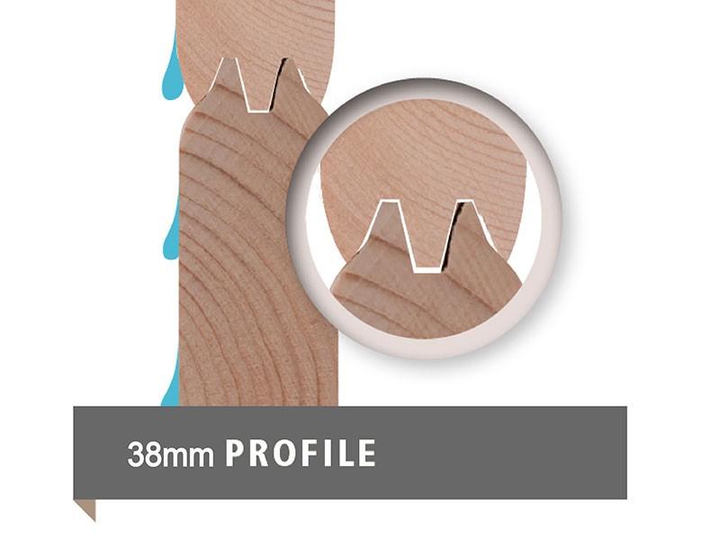 Karibu 38 mm Saunahaus Skrollan 1 - Pultdach - Milchglas Saunatür - naturbelassen - 9kW Saunaofen mit externer Steuerung Easy