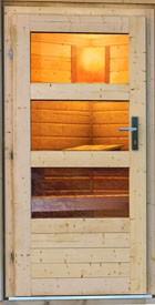 Karibu Systemsaunahaus 38 mm Saunahaus Skrollan 2 mit Vorraum ohne Saunaofen - naturbelassen - mit moderner Tür