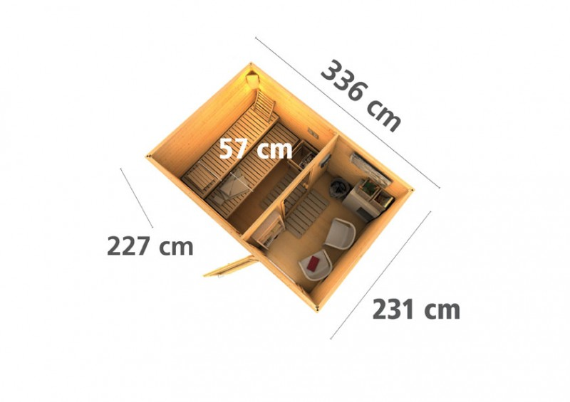 Karibu Systemsaunahaus 38 mm Saunahaus Skrollan 2 mit Vorraum ohne Saunaofen - naturbelassen