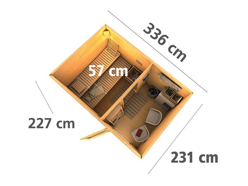 Karibu 38 mm Saunahaus Skrollan 2 - Pultdach - Moderne Saunatür - terragrau