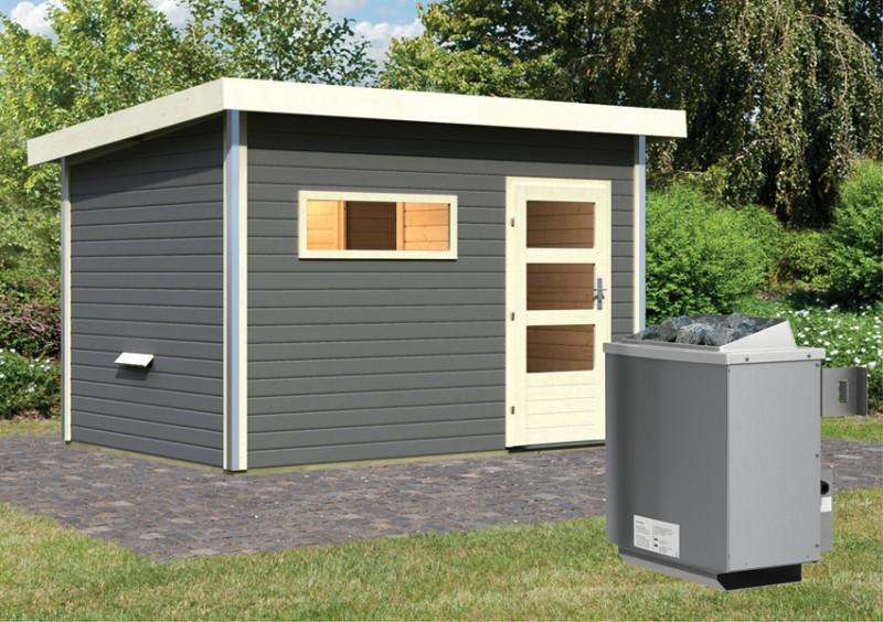 Karibu Systemsaunahaus 38 mm Saunahaus Skrollan 2  Ofen 9 kW integr. Strg   Gartensauna