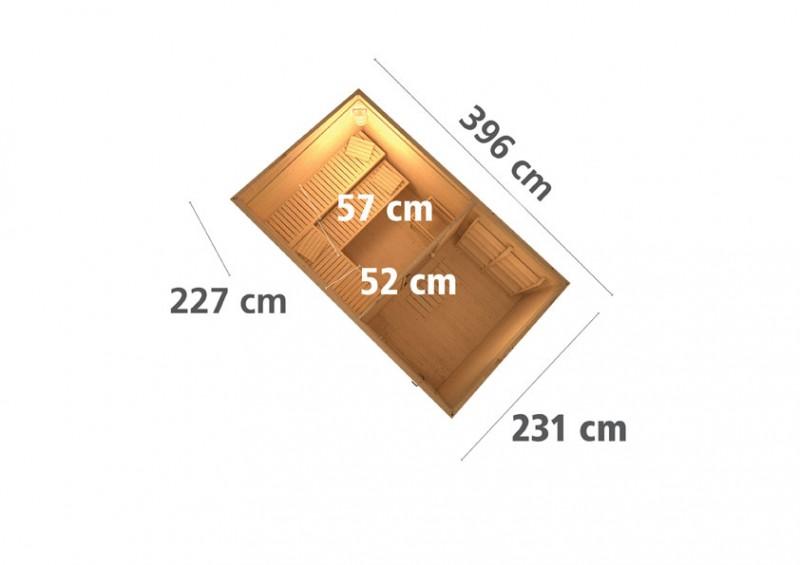 Karibu Aussensauna 38 mm Saunahaus Skrollan 3 mit Vorraum ohne Saunaofen - naturbelassen - moderne Glastüre