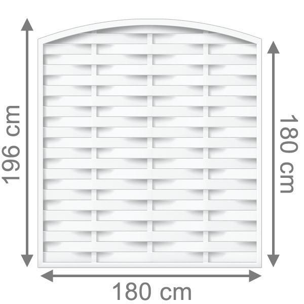 TraumGarten Sichtschutzzaun Longlife Romo Rundbogen weiß - 180 x 180 (196) cm