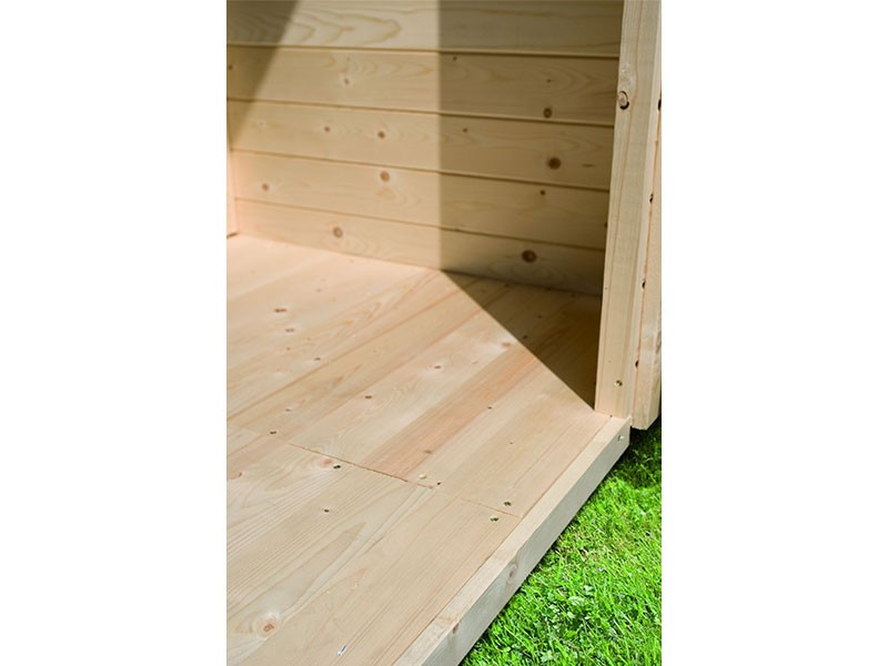 Karibu 38 mm Saunahaus Skrollan 3 - Pultdach - Moderne Saunatür - Saunafenster rechteckig - naturbelassen - 9kW Bio-Kombiofen mit externer Steuerung Easy bio