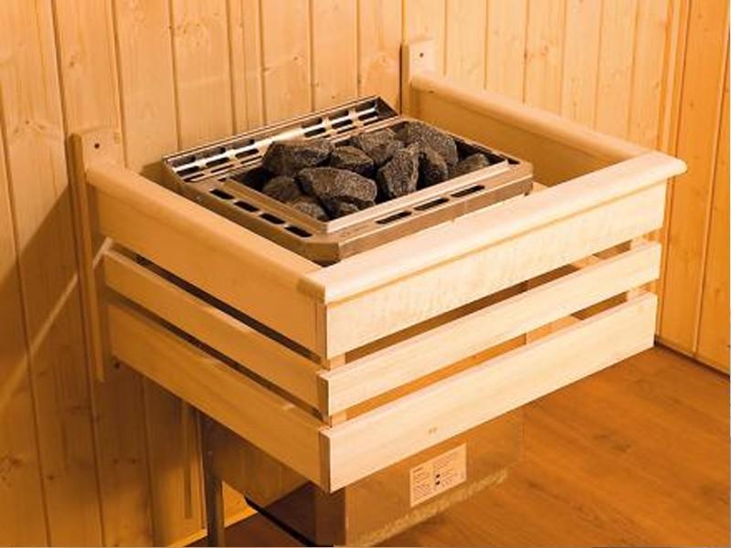 WEKA Gartensauna Saunahaus 28 mm SALO 2 rot mit Anbau (schwedenrot)
