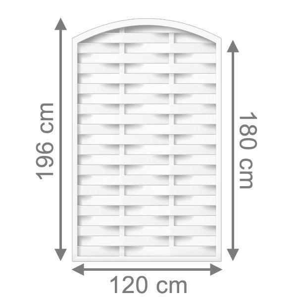 TraumGarten Sichtschutzzaun Kunststoff Longlife Romo Rundbogen weiß - 120 x 180 (196) cm