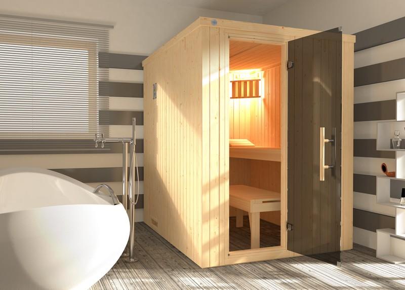 WEKA Heimsauna Elementbau Sauna KAARINA 1 mit Gansglastüre