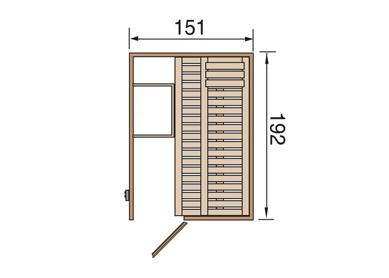 WEKA Heimsauna Elementbau Sauna KAARINA 1 mit Ganzglastüre