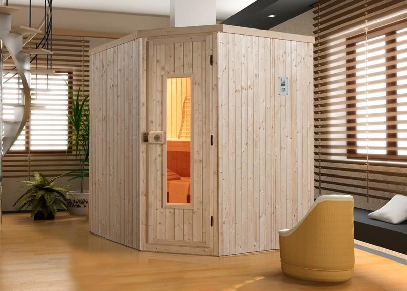WEKA Heimsauna Elementbau Sauna (Eckeinstieg) VARBERG 1 Holztüre