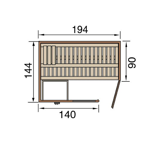 WEKA Heimsauna Elementbau Sauna (Eckeinstieg) VARBERG 1 Glastüre