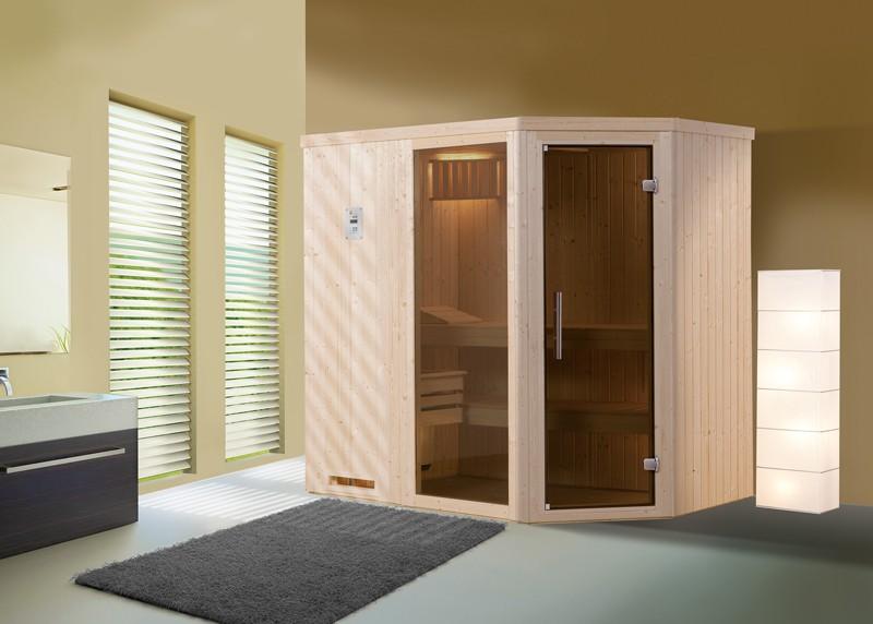 WEKA Heimsauna Elementbau Sauna (Eckeinstieg) VARBERG 1 Glastüre u. Fenster