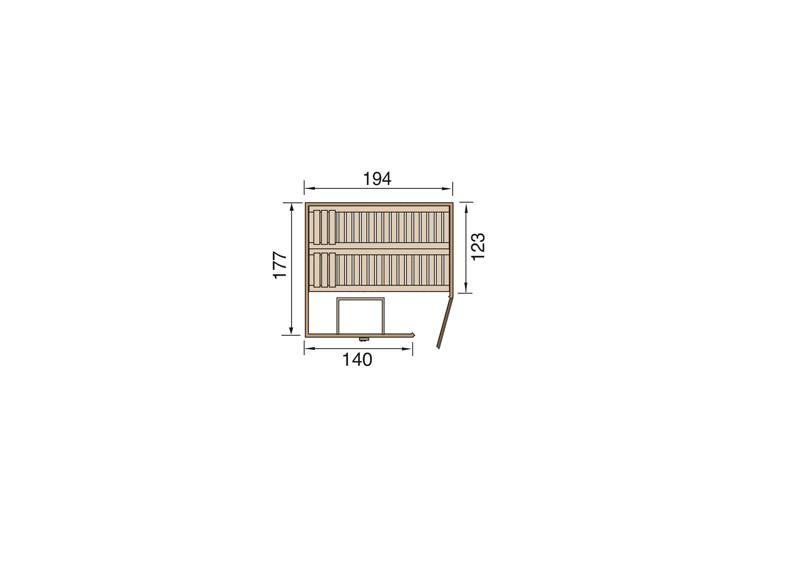 WEKA Heimsauna Elementbau Sauna (Eckeinstieg) VARBERG 2 Glastüre