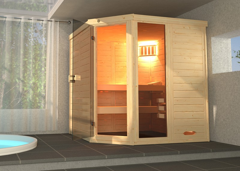 WEKA Heimsauna Massivholzsauna Elementbau Sauna 38 mm LAUKKALA 2 mit Glastüre u. Fenster