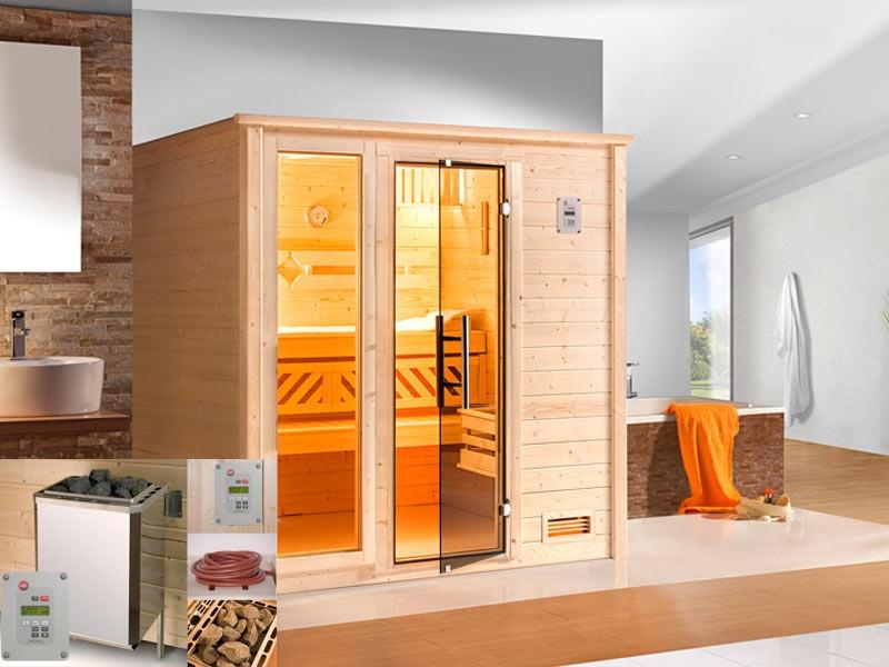WEKA Heimsauna Massivholzsauna Sparset 2 BERGEN PLUS Glastüre u. Fenster Biokombi-Ofen-Set